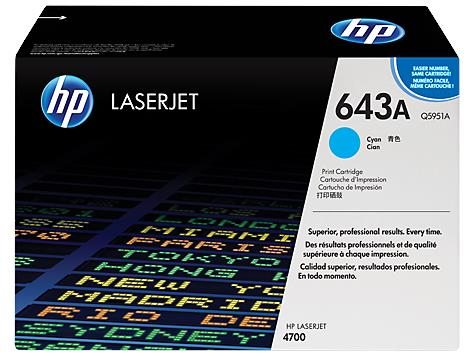 HP 643A Cyan Original LaserJet Toner Cartridge (Q5951A)