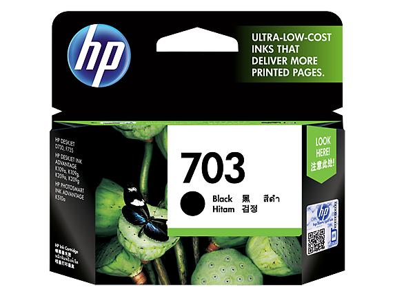 HP® 703 Black Original Ink Advantage Cartridge(CD887AA)