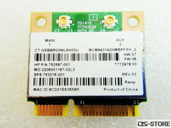 HP 752597-001 BCM943142HM Half Mini PCI-E Wlan WIFI BT Wireless Card