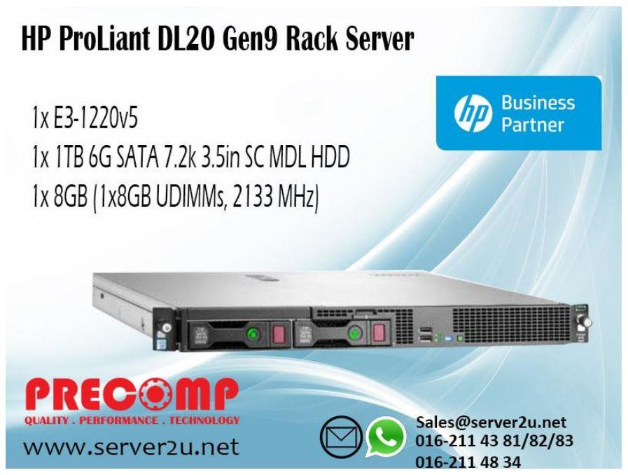 HP ProLiant DL20 Gen9 Server (E3-1220v5.8GB.1TB) (823556-B21)