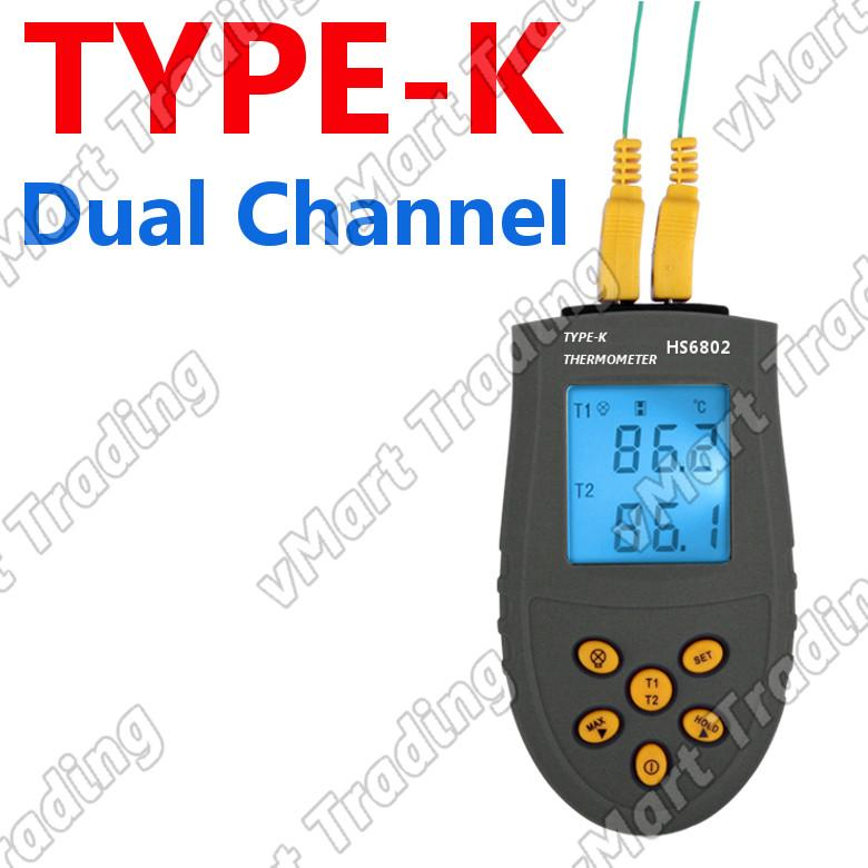 HS6802 Dual Channel Type-K Digital Thermometer