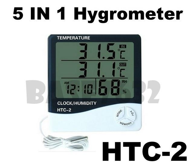 HTC-2  LCD Digital Hygrometer Thermometer Clock Humidity Temperature