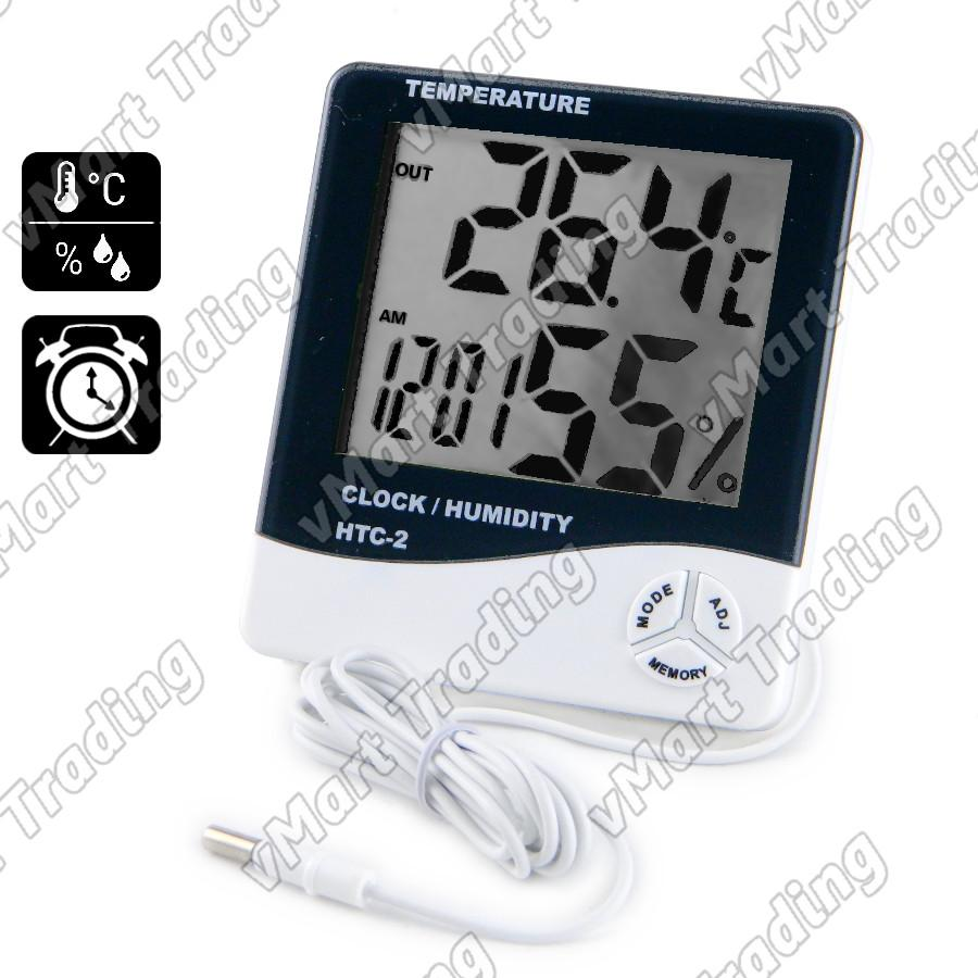 HTC-2E1T Digital Humidity Hygrometer In/Out Thermometer Clock