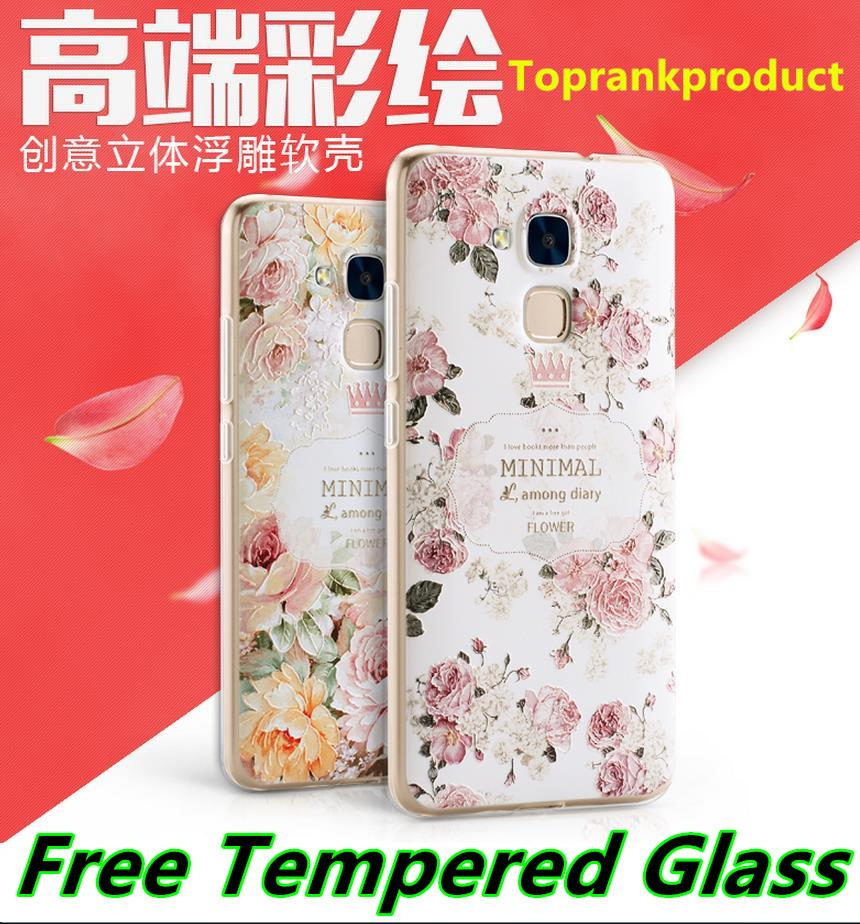 Huawei Honor 5C 3D Relief Silicone Case Cover Casing + Tempered Glass