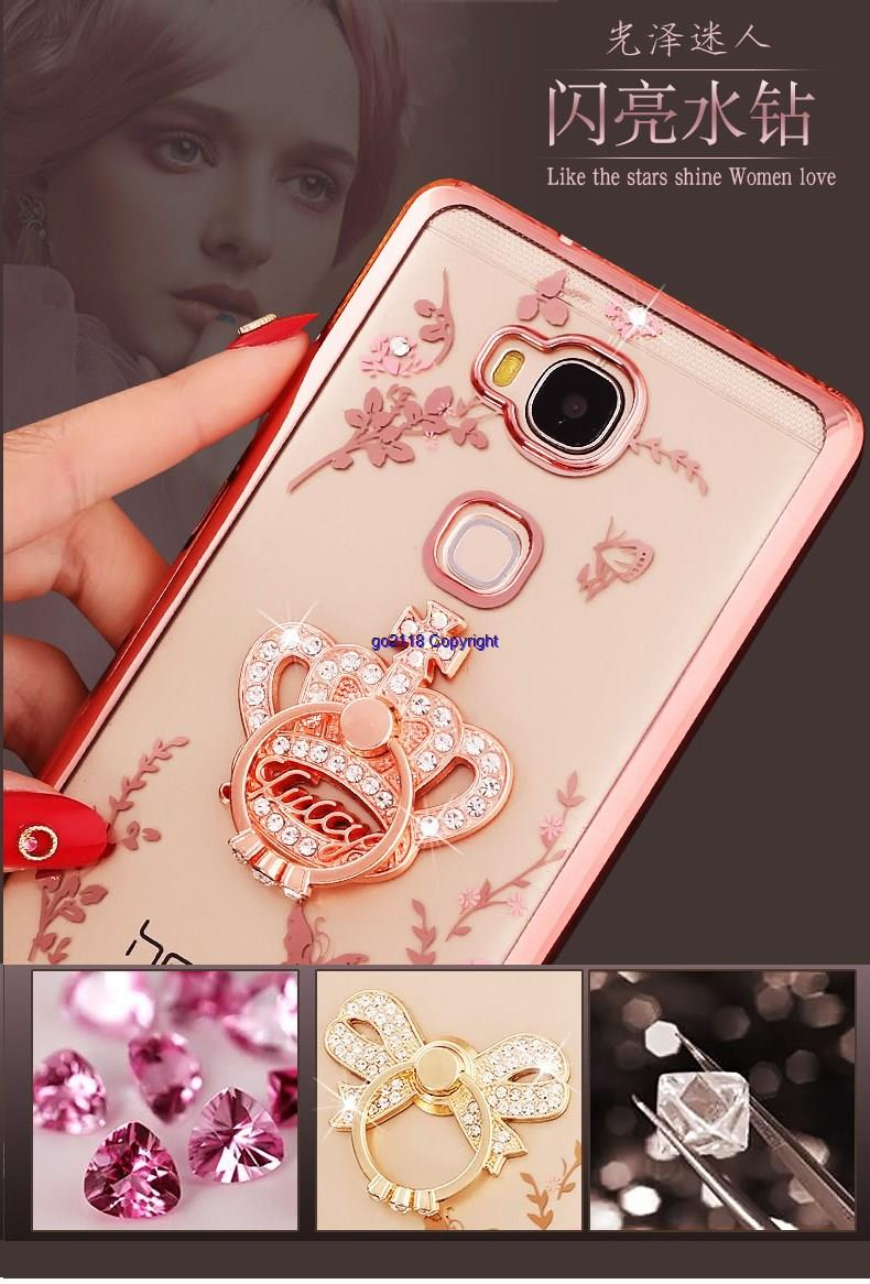 Huawei Honor 5x Diamond Ring Holder Plating Soft Back Case Cover Casin