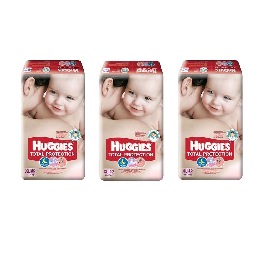 Huggies Total Protection Diapers Super Jumbo Combo Pack XL50 (3 Packs)