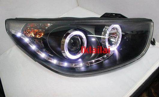 Hyundai Tucson iX35 Projector Head Lamp Double LED Ring [R8 Look]