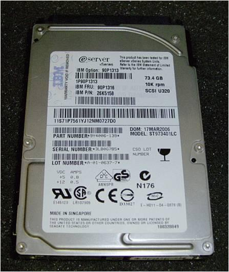 IBM Ultra320 73.4GB SCSI 10K RPM Hard Drive