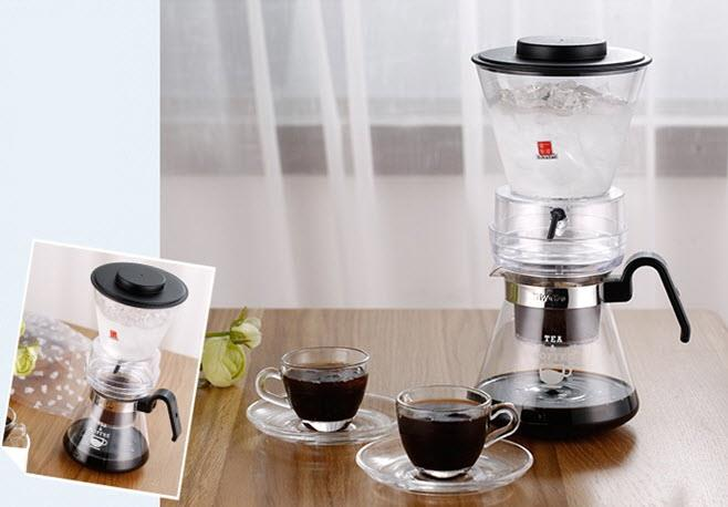 Ice Drip Coffee Maker Cold Brew + Manual Grinder & 2 Coffee Cups Set