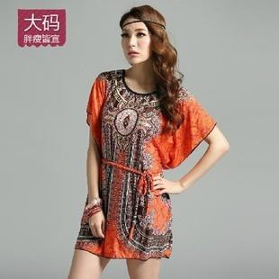 Ice Silk Free Size Colourful Pattern Short Sleeves Dress YMY-004
