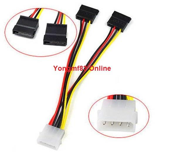 IDE 4P to Dual SATA 15P Y Splitter Hard Drive Power Cable (CP-C-103)