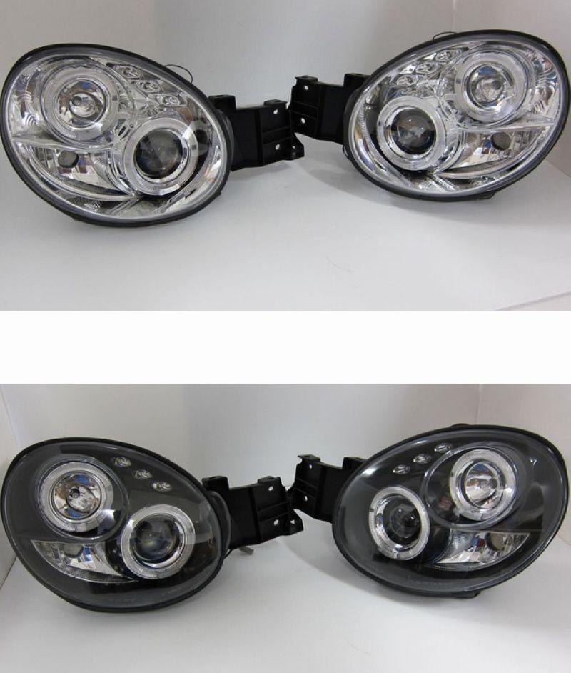 IMPREZA GDA 01-03 LED Ring Projector Head Lamp Black/Chrome Housing