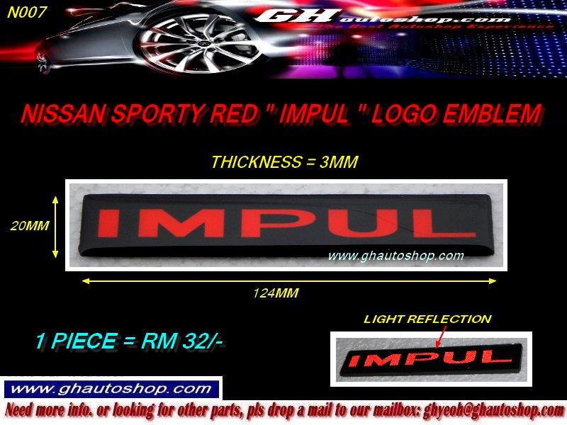 IMPUL RED LOGO EMBLEM FOR LIVINA FRONT GRILLE N007