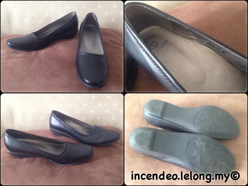 **incendeo** - Authentic ALAIN DELON Black Leather Shoe for Ladies