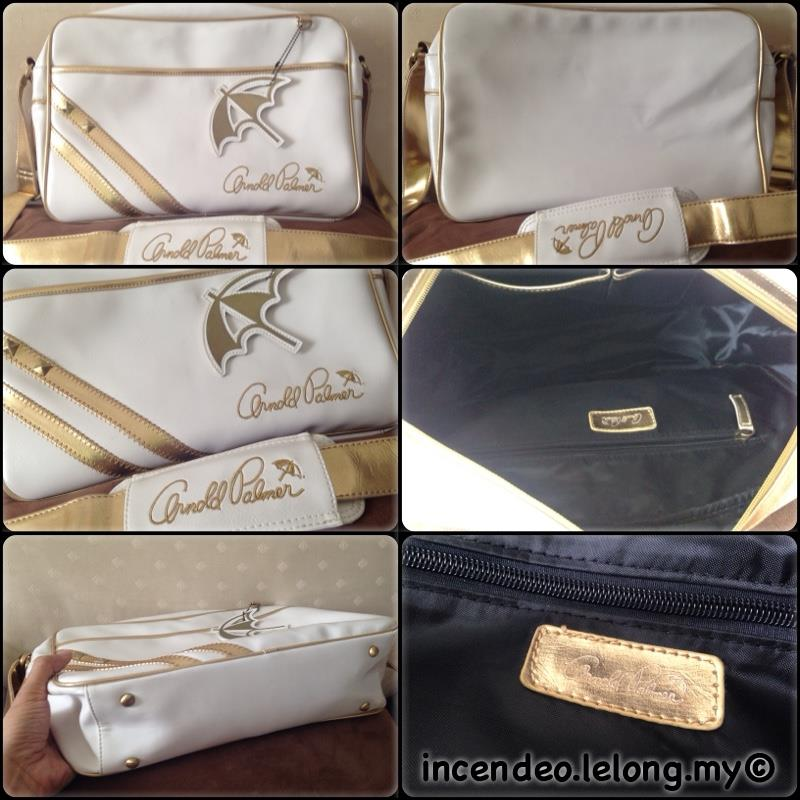 **incendeo** - Authentic ARNOLD PALMER White and Gold Bag
