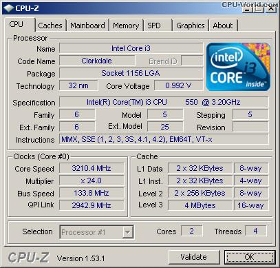 Intel® Core™ i3-550 1st Gen CPU Processor 4M Cache, 3.20 GHz LGA1156