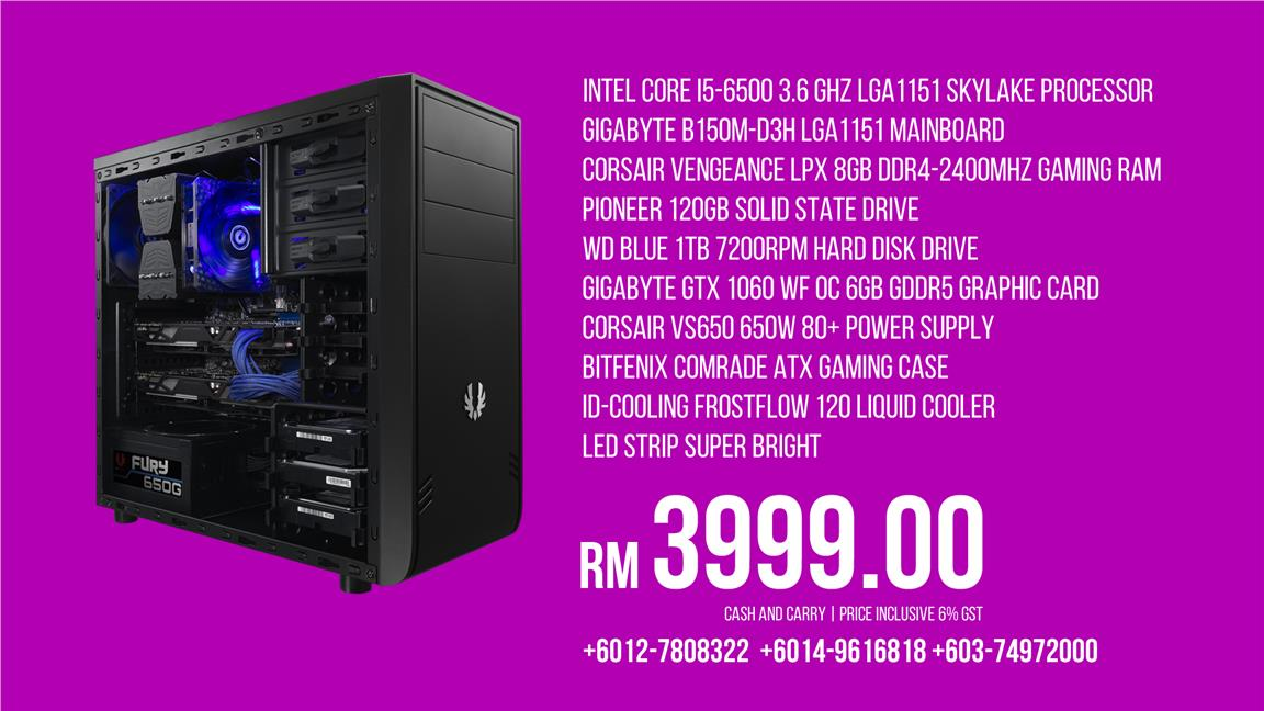 INTEL CORE I5-6500 B150M LPX 8GB 120GB 1TB GTX1060 B600 NODE 804 120