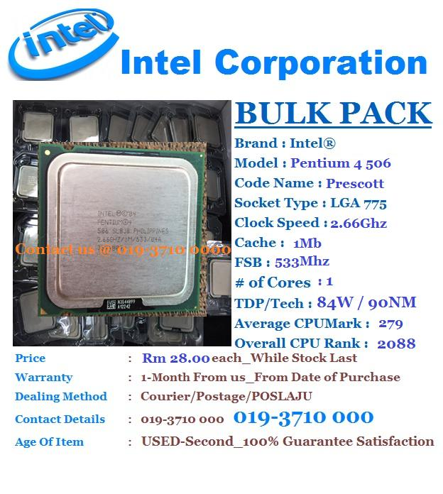 Intel® Pentium® 4 Processor 506 2.66Ghz/1Mb/533FSB Processor LGA 775