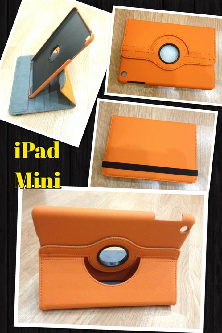 Ipad 2/3/4/Mini Rotatable Good Grade Case with Stand ORANGE.