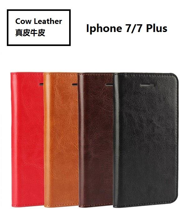 Iphone 7/7 plus flip cover phone casing cow leather_crazy horse patter