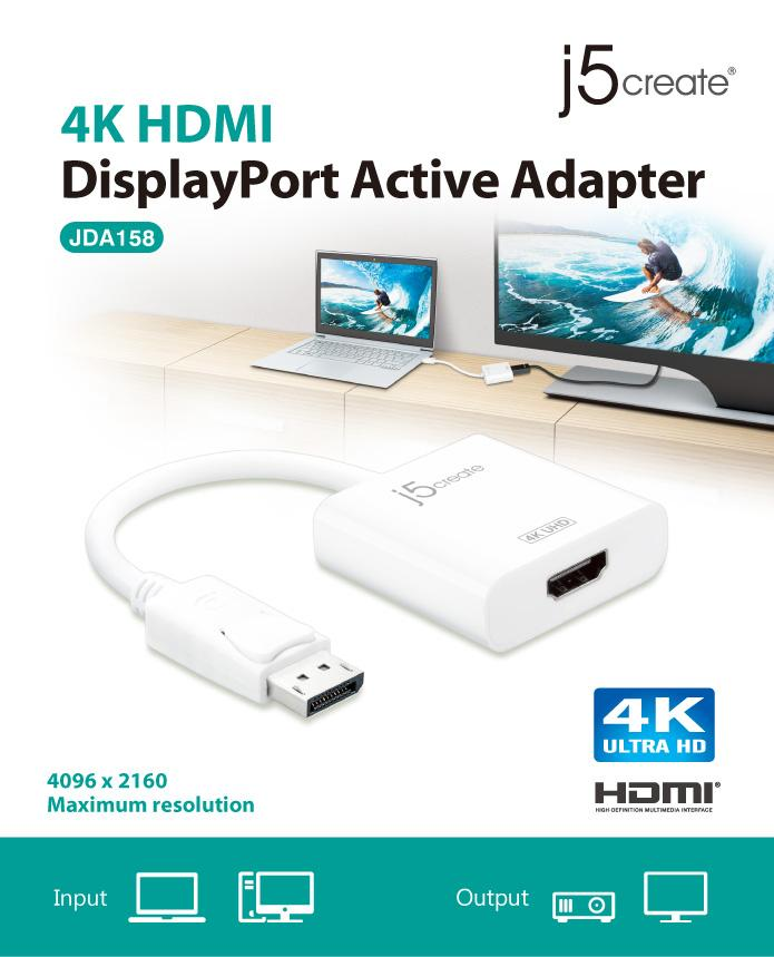 J5 Create JDA158 DisplayPort to 4K HDMI Active Adapter