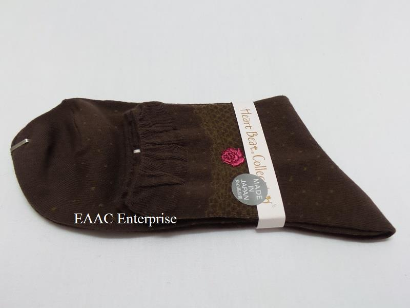 Japan Made Female Woman Kids Cotton Crew Socks Stocking Rose D Brown