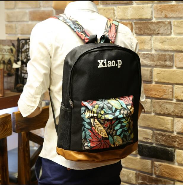 Japanese retro personality leaves printed backpack