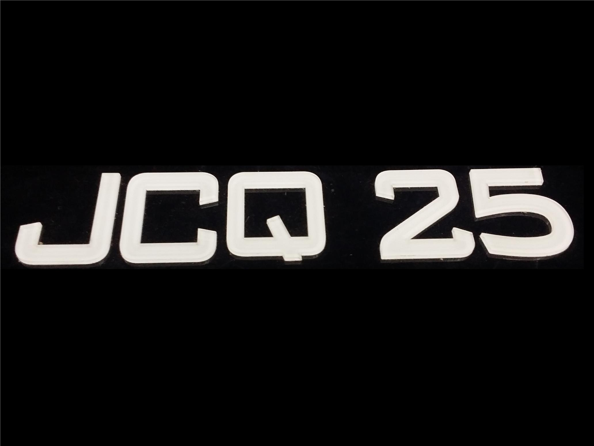 JCQ FONT CRYSTAL ACRYLIC CAR NUMBER PLATE SET 2 - 7 ALPHABET