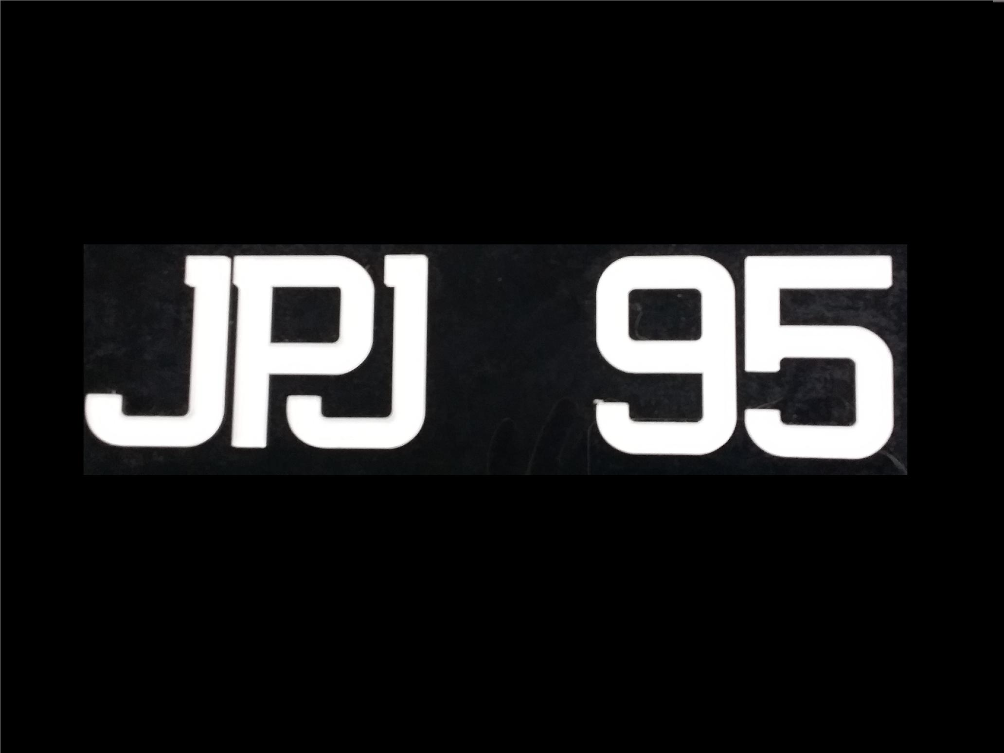 JPJ FONT CRYSTAL ACRYLIC CAR NUMBER PLATE SET 2 - 7 ALPHABET