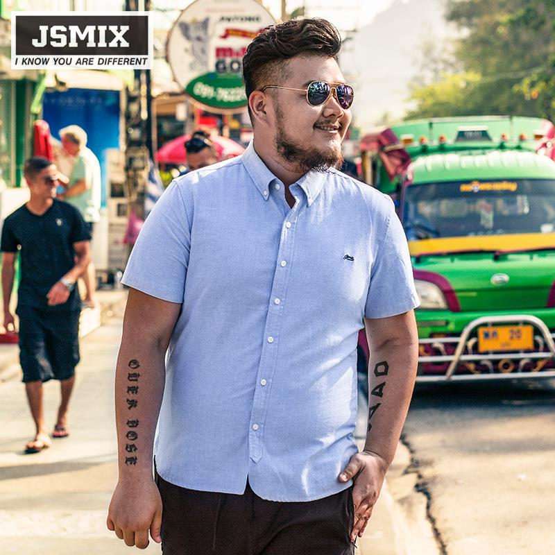 JSMIX Men's Plus Size (XL~7XL)Casual Cotton Short Sleeve Shirt 62C0003