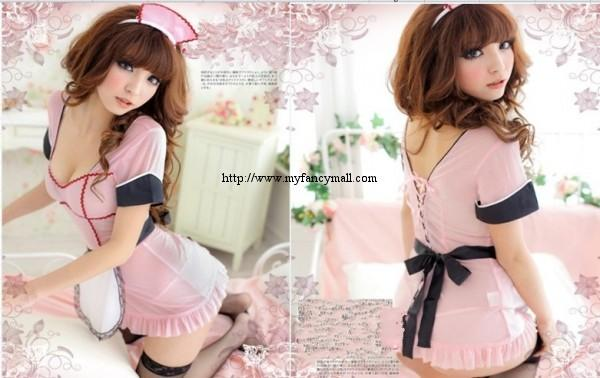 Kawaii Halter Neck Hung Four-Piece Lace Maid Lingerie Nightwear 1907