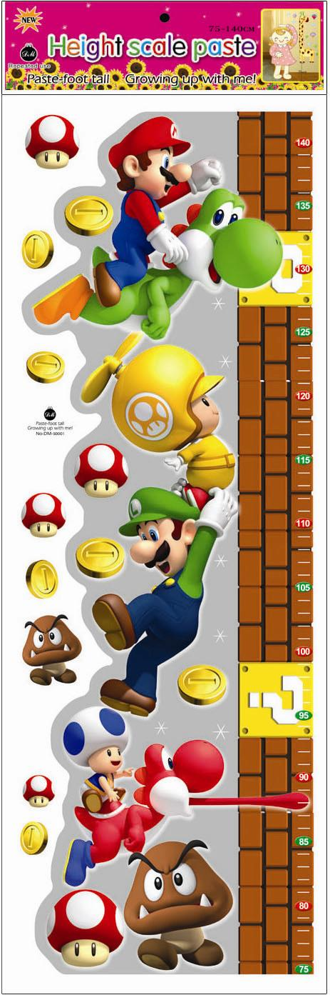 Kids Height Measurement Growth Chart Wall Sticker - Mario