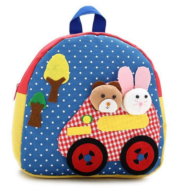 Kids Lovely Zoo Cute Kindergarden Backpack (Blue)