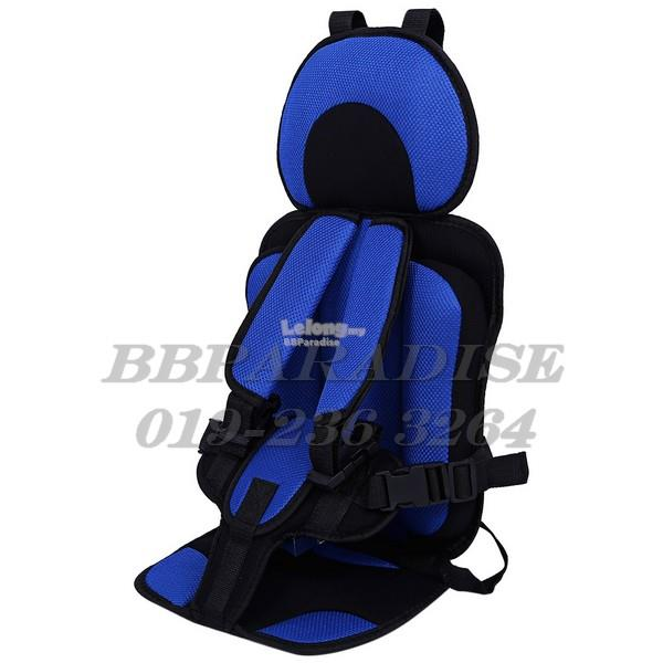 KIDS SAFETY THICKENING COTTON ADJUSTABLE CHILDREN CAR SEAT (BLUE)