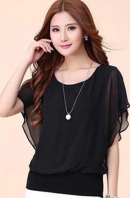 King Size Batwing Show-slim Chiffon Blouse (Black)