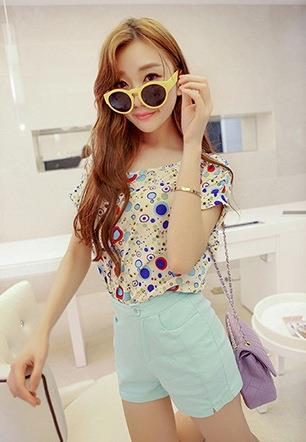 King Size Loose Short-sleeve Chiffon Blouse (Blue Circle)