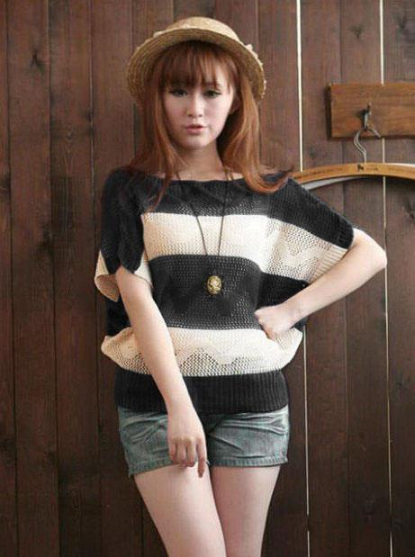 King Size Stripe Hollow Knit Blouse (Black)