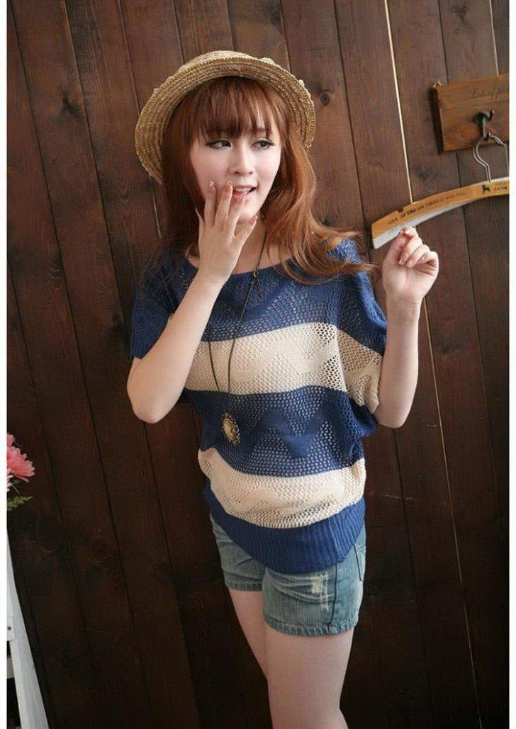 King Size Stripe Hollow Knit Blouse (Blue)