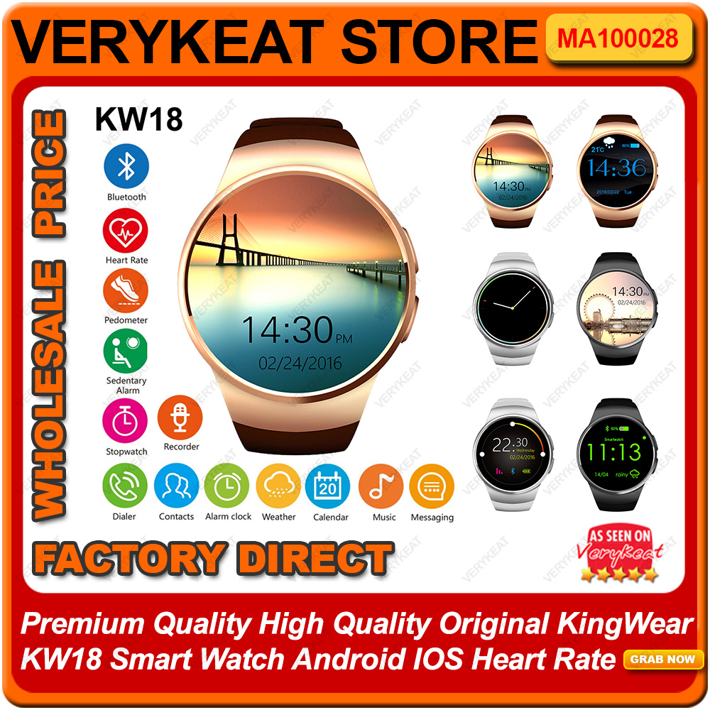 KingWear KW18 Smart Watch Android IOS Heart Rate Bluetooth Smartwatch