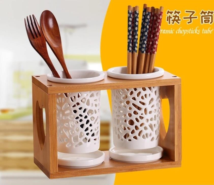 Kitchen Ceramic Cutlery and Chopsticks Holder Drainer