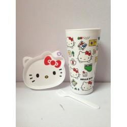 KITTY LIMITED 7-ELEVEN BIG MUG WITH MINI PLATE AND FORK (DESIGN A)