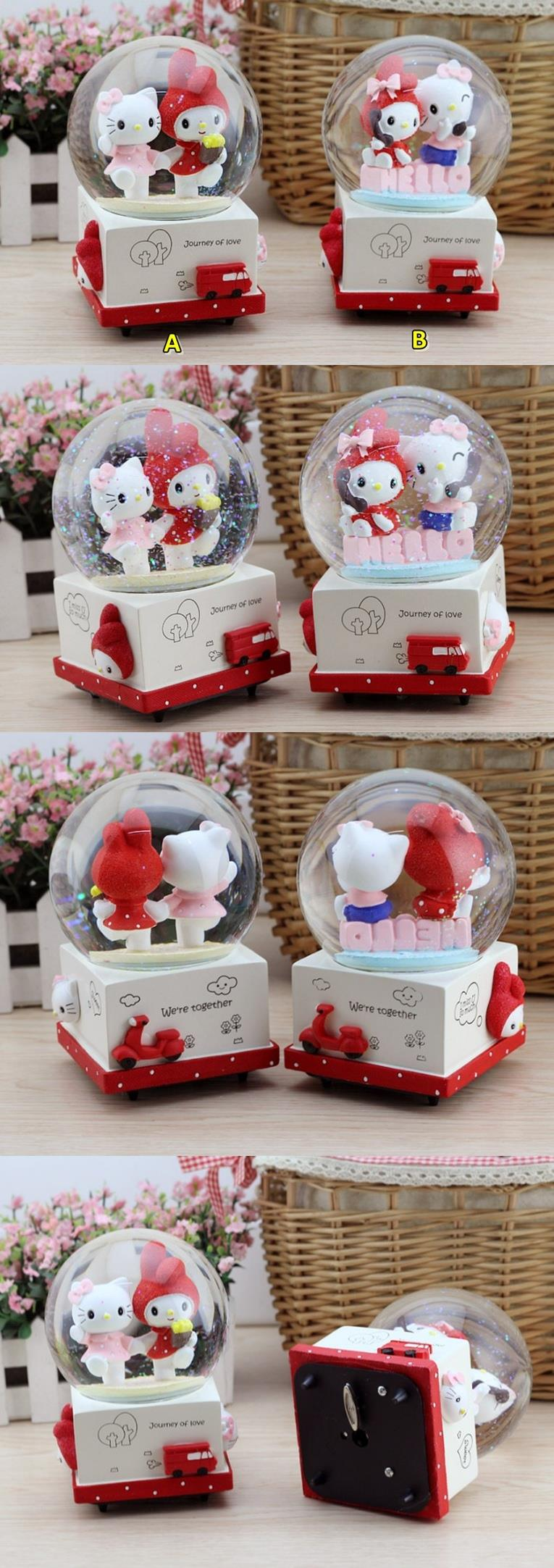KITTY & MELODY MUSICAL SNOW GLOBE - L