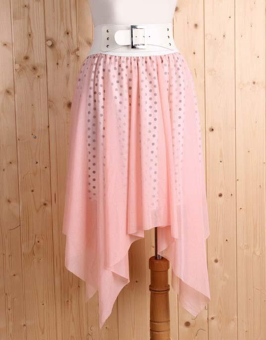 Korea Fashion~Elegant Irregular Skirt (Pink)
