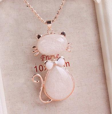 Korea Ribbon Cat Design Ladies Long Necklace
