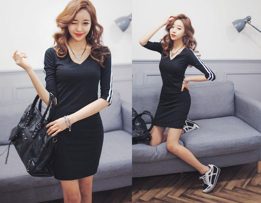 Korea Sporty Long Sleeve Design Ladies Dress