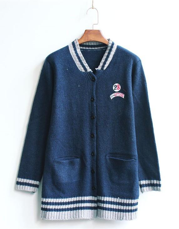 Korea Student Style Long-sleeve Jacket (Dark Blue)