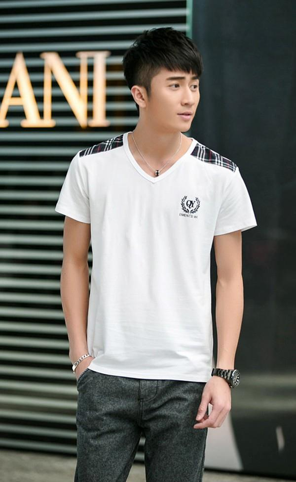 Korea Style Plaid Men T-shirt (White)