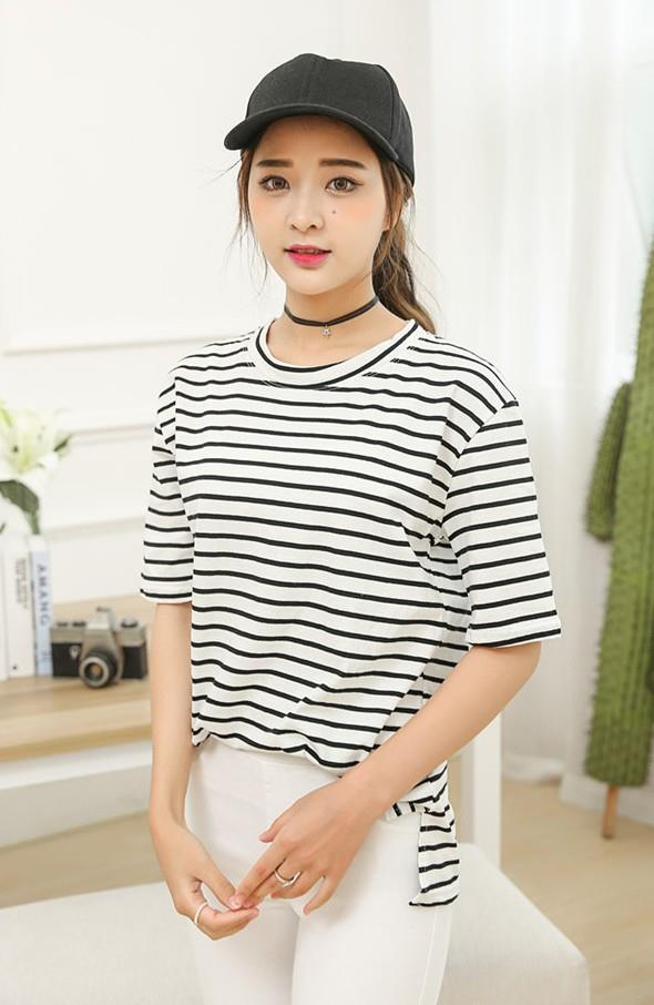 Korea Style Pure Cotton Stripe Loose Blouse (Black)