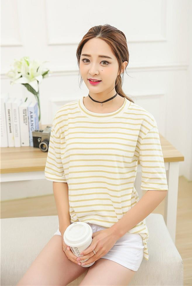 Korea Style Pure Cotton Stripe Loose Blouse (Yellow)