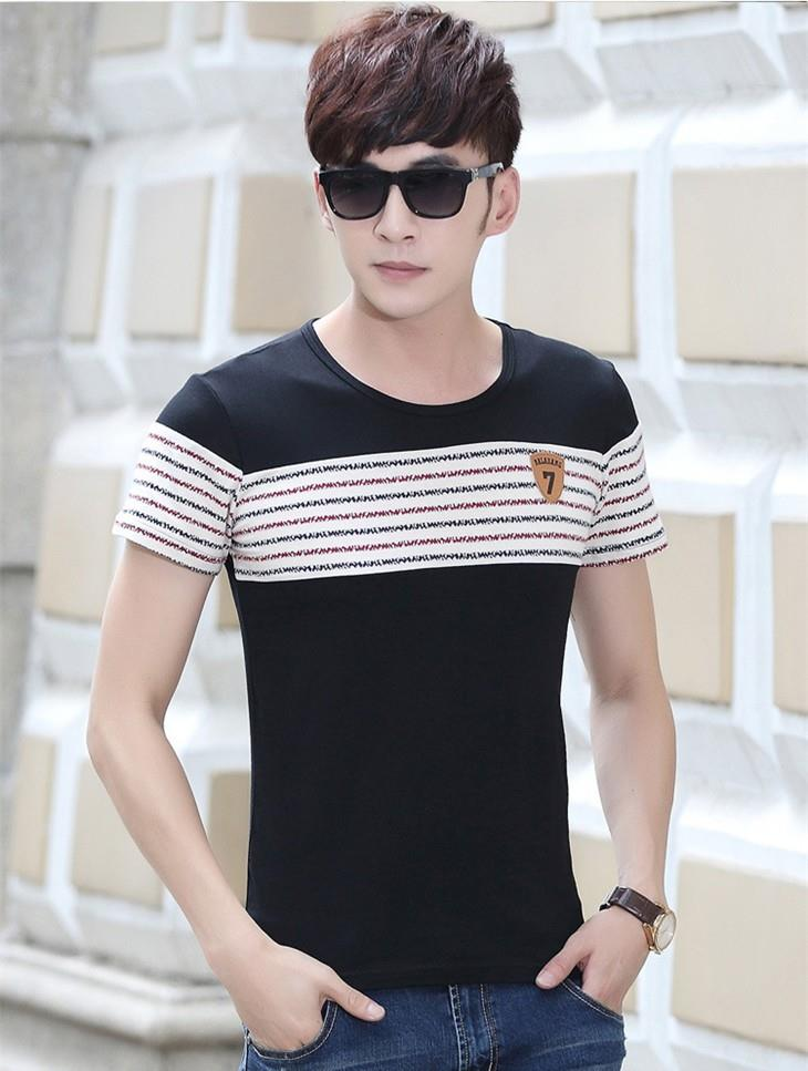 Korea Style Stripe Show-slim Men T-shirt (Black)